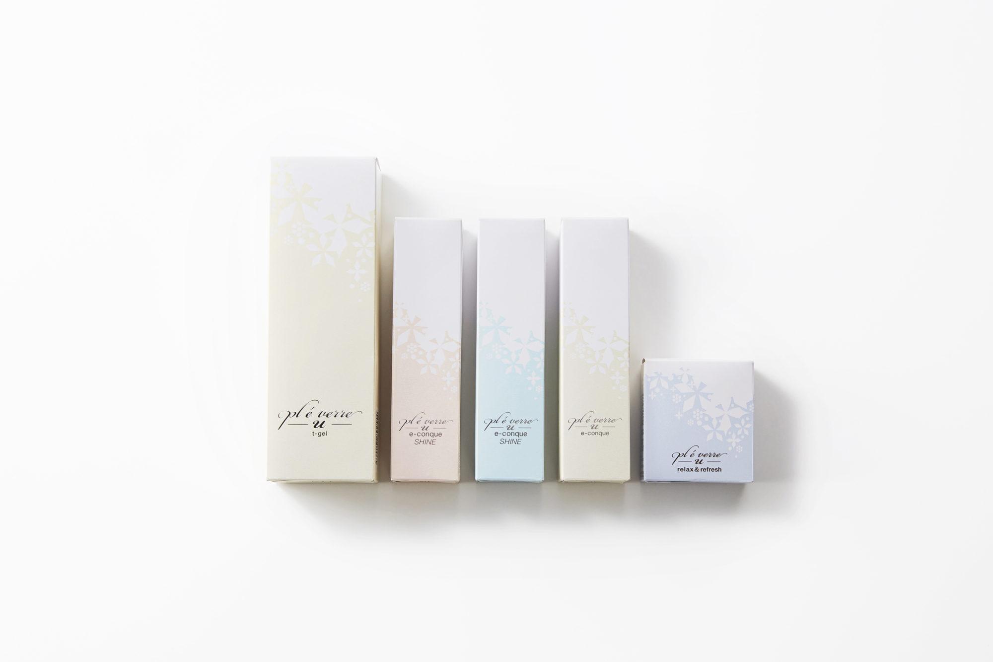 (右から)t-gel/e-conaue SHINE/relax&refresh